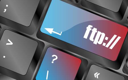 ftp: Computer keyboard with ftp key, technology background vector, keyboard keys, keyboard button