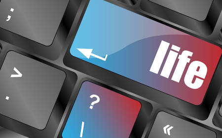 growth hot: Life key in place of enter key - social concept vector, keyboard keys, keyboard button Illustration