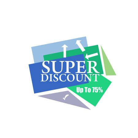 discount banner: Super Discount sticker. Offer sticker. Super Discount label. Special discount vector label. Sale sign. Discount element template. Special offer sticker. Promo sticker. Discount icon. Discount banner.