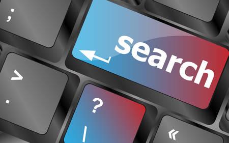 computer keyboard: internet search engine key showing information hunt concept vector, keyboard key, keyboard button, vector keyboard