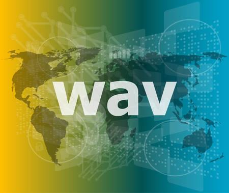 mpg: digital concept: wav word on digital screen vector illustration