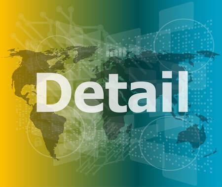 detail: The word detail on digital screen, business concept vector illustration Illustration