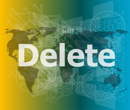 del: The word delete on digital screen, information technology concept vector illustration