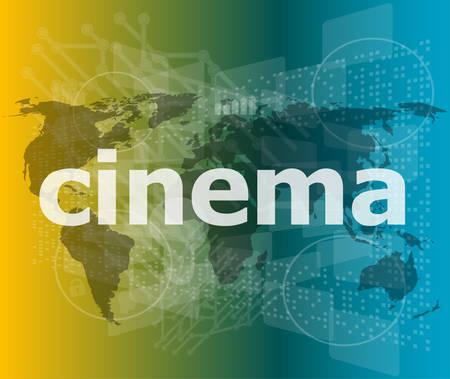 cinema screen: cinema word on digital screen with world map vector illustration