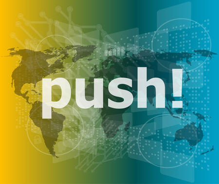 new generation: push word on digital touch screen interface vector illustration