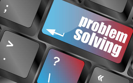 solving: problem solving button on computer keyboard key vector , keyboard keys, keyboard button Illustration