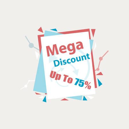 discount banner: Vector. Mega Discount. Discount sticker. Offer sticker. Discount label. Special discount label. Sale sign. Discount element template. Special offer sticker. Promo sticker. Discount icon banner