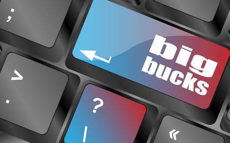bucks: big bucks on computer keyboard key button vector , keyboard keys, keyboard button Illustration