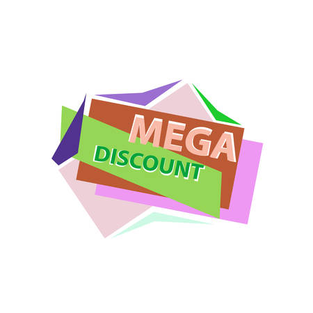 discount banner: Mega Discount. Discount sticker. Offer sticker. Discount label. Special discount label. Sale sign. Discount element template. Special offer sticker. Promo sticker. Discount icon. Discount banner