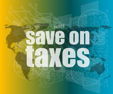 words save on taxes on business digital touch screen, infographicsvector quotation marks with thin line speech bubble. concept of citation, info, testimonials, notice, textbox. flat style