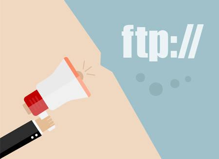 ftp: ftp. vector flat design business illustration concept. Digital marketing business man holding megaphone for website and promotion banners.