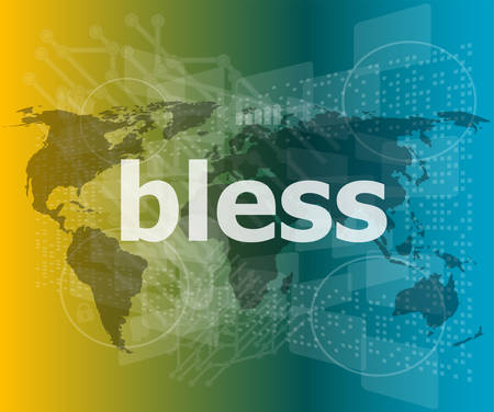 bless: bless text on digital touch screen - business conceptvector quotation marks with thin line speech bubble. concept of citation, info, testimonials, notice, textbox. flat style