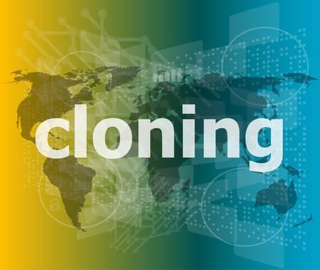 clonacion: clonaci�n palabra, fondos de pantalla t�ctil con botones transparentes. concepto de ilustraci�n vectorial moderna internet