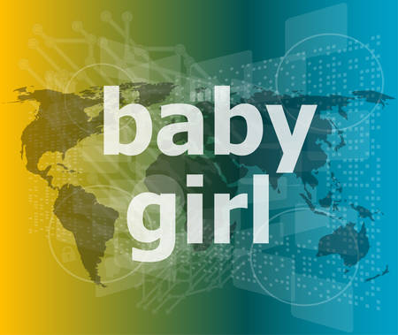 baby girl text on digital touch screen - social concept vector illustration