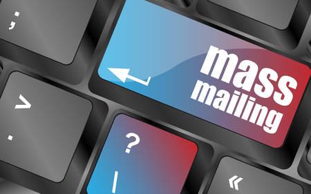 mailing: Marketing concept: computer keyboard with word Mass Mailing vector . keyboard keys, keyboard button, keyboard icon