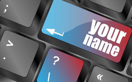 surfing the net: your name button on keyboard - social concept vector . keyboard keys, keyboard button, keyboard icon