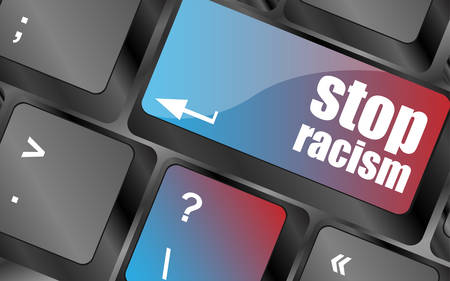 stop icon: stop racism concept by keyboard keys, keyboard button, keyboard icon