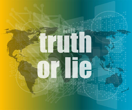 to lie: truth or lie text on digital touch screen interface vector quotation marks with thin line speech bubble. concept of citation, info, testimonials, notice, textbox. flat style trend design