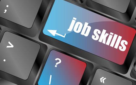 competencias laborales: Teclado de ordenador con clave de habilidades de trabajo. concepto de negocio de vector. las teclas del teclado, el botón del teclado, icono del teclado