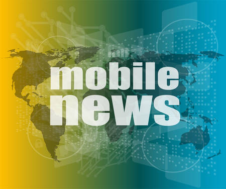 tabloid: News and press concept: words mobile news on digital screen vector quotation marks with thin line speech bubble. concept of citation, info, testimonials, notice, textbox. flat style Illustration