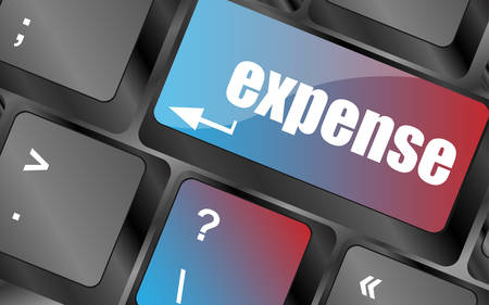 expense: expense button on the keyboard close-up keyboard keys, keyboard button, keyboard icon Illustration
