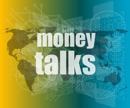 conversaciones: el dinero habla palabras en la pantalla t�ctil del vector marcas de cotizaci�n digitales de la forma de burbuja de di�logo. concepto de la citaci�n, informaci�n, testimonios, aviso, cuadro de texto. aislado sobre fondo blanco. tendencia de estilo plano