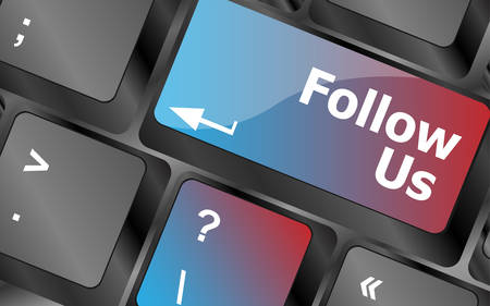 commentary: Social media concept: Keyboard with Follow Us button . keyboard keys. vector illustration