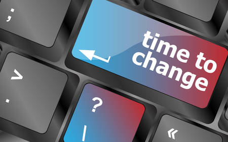 computer keyboard: Time concept: computer keyboard word Time to change . keyboard keys. vector illustration