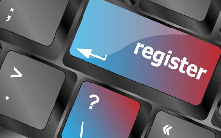 attend: The word Register on a green computer keyboard key to illustrate e-commerce or signing up entering to join a new website, store, or attend an event