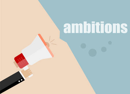 ambitions: ambitions. Flat design vector business illustration concept Digital marketing business man holding megaphone for website and promotion banners.