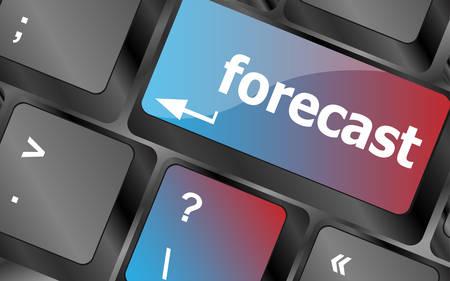 prognoses: forecast key or keyboard showing forecast or investment concept . keyboard keys. vector illustration Illustration