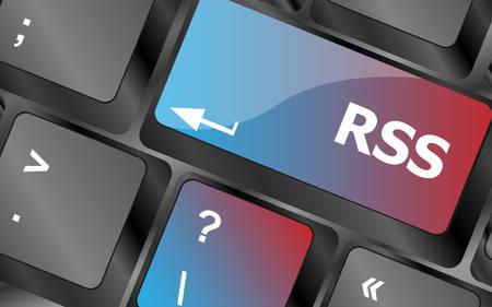 Bouton RSS sur le gros plan de la touche du clavier. touches du clavier. illustration vectorielle