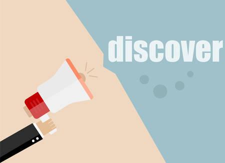 discover: discover. Flat design vector business illustration concept Digital marketing business man holding megaphone for website and promotion banners. Illustration