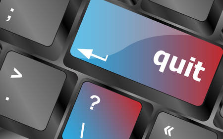 quit button on black internet computer keyboard . keyboard keys. vector illustration