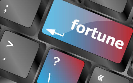 fortune concept: Fortune for investment concept with button on computer keyboard . keyboard keys. vector illustration