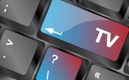 keyboard keys: computer keyboard keys with tv button . keyboard keys. vector illustration