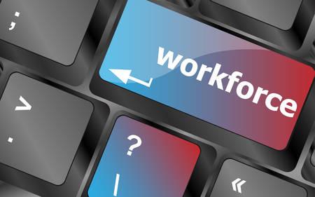 contracting: Workforce keys on keyboard - business concept . keyboard keys. vector illustration