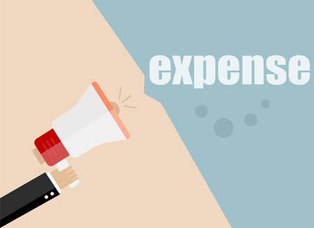 expense: expense. Flat design vector business illustration concept Digital marketing business man holding megaphone for website and promotion banners.