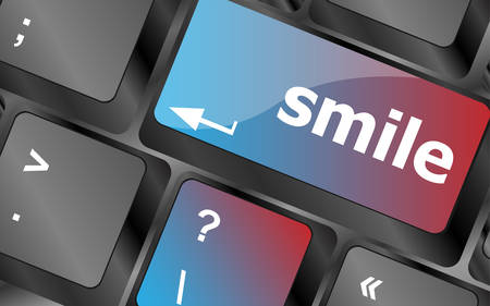 dissatisfaction: Computer keyboard with smile words on key - business concept . keyboard keys. vector illustration