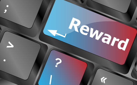 rewarding: Rewards keyboard keys showing payoff or roi . keyboard keys. vector illustration