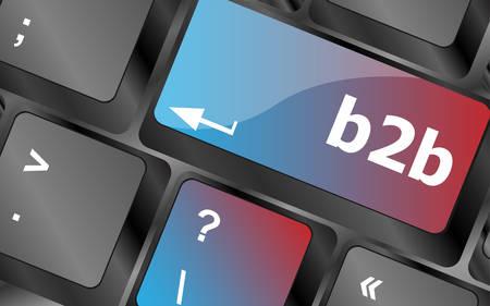 keyboard keys: word b2b on digital keyboard key . keyboard keys. vector illustration Illustration