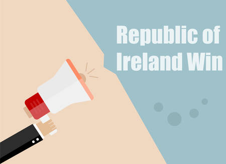 republic of ireland: Republic of Ireland win. Flat design vector business illustration concept Digital marketing business man holding megaphone for website and promotion banners.