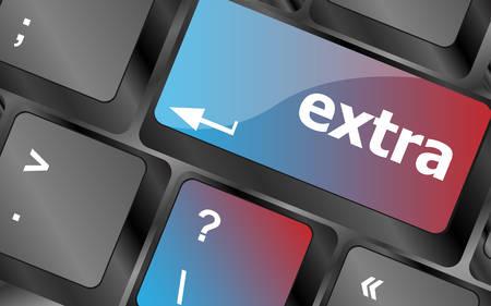 extra money: Computer keyboard key - Extra word on it . keyboard keys. vector illustration Illustration