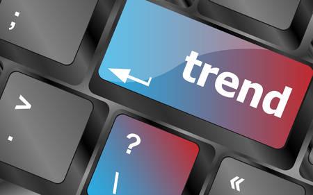 Pulsante Trend sulla tastiera del computer, il concetto di business. i tasti della tastiera. illustrazione vettoriale Vettoriali