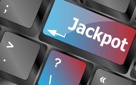 key on a computer keyboard with the words jackpot . keyboard keys. vector illustration