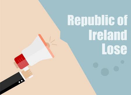 republic of ireland: Republic of Ireland lose. Flat design vector business illustration concept Digital marketing business man holding megaphone for website and promotion banners. Illustration