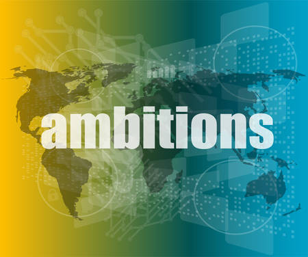ambitions: Security concept: word ambitions on digital screen vector quotation marks with thin line speech bubble. concept of citation, info, testimonials, notice, textbox. flat style trend design Illustration