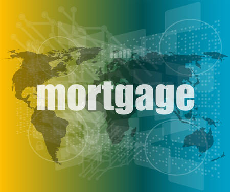 mortgage words on digital touch screen interface - business concept vector quotation marks with thin line speech bubble. concept of citation, info, testimonials, notice, textbox. flat style