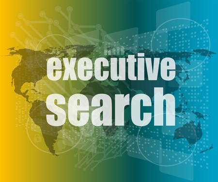 executive search: executive search word on digital screen, mission control interface hi technology vector quotation marks with thin line speech bubble. concept of citation, info, testimonials, notice, textbox Illustration