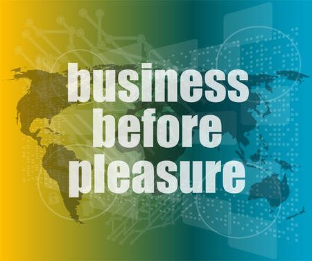 pleasure: business before pleasure words on digital touch screen, business concept vector quotation marks with thin line speech bubble. concept of citation, info, testimonials, notice, textbox